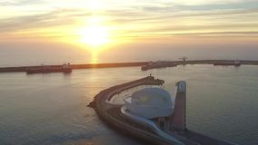 Sunset over the port in Porto. Aerial stock footage