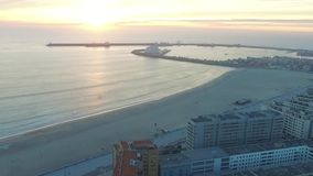 Sunset over the port in Porto. Aerial stock video