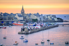 Sunset over the port of Roscoff, Brittany, France Stock Images