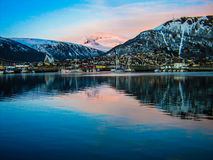 Sunset over the port of Tromso, Norway Stock Photography