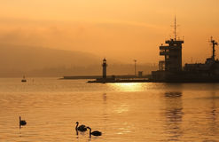 Sunset over Port of Varna. Royalty Free Stock Photography