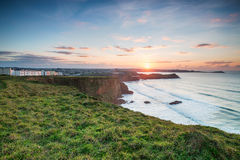 Sunset over Porth in Cornwall Stock Image