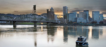 Sunset Over Portland City Skyline Panorama Royalty Free Stock Images