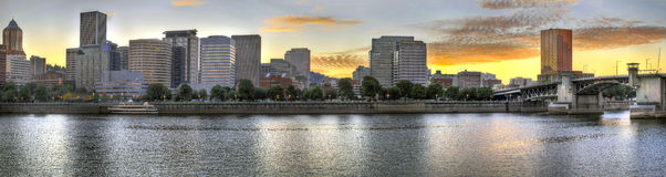 Sunset over Portland Downtown Skyline Royalty Free Stock Photo