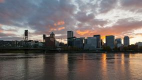 Sunset over Portland Or downtown skyline with Hawthorne bridge 4k timelapse. Colorful sunset and clouds over Portland Oregon downtown city skyline with Hawthorne stock video