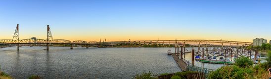 Sunset Over Portland Oregon City Skyline Along Willamette River Waterfront. Panorama royalty free stock images