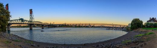 Sunset Over Portland Oregon City Skyline Along Willamette River Waterfront. Panorama royalty free stock photo
