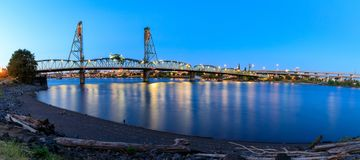 Sunset Over Portland Oregon City Skyline Along Willamette River Waterfront. Panorama stock image