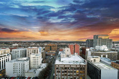 Sunset Over Portland Oregon Cityscape. Sunset Over Portland Oregon Downtown Cityscape with Mt Hood in the Distant Royalty Free Stock Photos