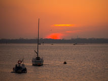 Sunset over Portsmouth Harbour Stock Photos