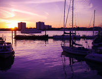Sunset over Portsmouth Harbour Stock Images