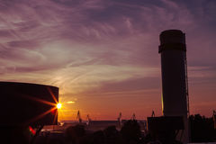 Sunset over the power plant Royalty Free Stock Photo