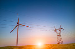 Sunset over the powerline Royalty Free Stock Photo