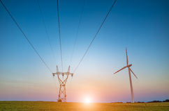 Sunset over the powerline Stock Photography