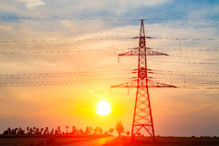 Sunset over the powerlines Royalty Free Stock Photography