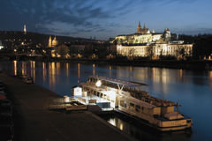 Sunset over Prague Castle stock image
