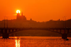 Sunset over Prague Castle Royalty Free Stock Image