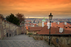 Sunset over Prague. Prague city seen from Prague Castle stairs, cityscpe against purple twilight skies , Prague,Czech Republic,Central Europe Stock Photography