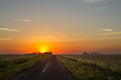 Sunset over prairies Royalty Free Stock Photography