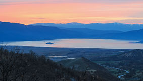 Sunset over Prespa Lake, Greece Stock Images