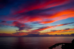 Sunset over the Puerto Mogan Stock Photography