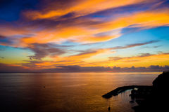 Sunset over the Puerto Mogan Royalty Free Stock Images