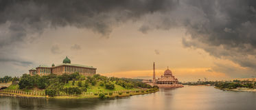 Sunset over Putrajaya Mosque and Panorama of Kuala Lumpur Royalty Free Stock Photo