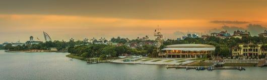 Sunset over Putrajaya Mosque and Panorama of Kuala Lumpur Royalty Free Stock Images