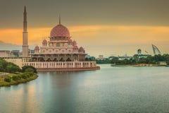 Sunset over Putrajaya Mosque and Panorama of Kuala Lumpur Royalty Free Stock Photography