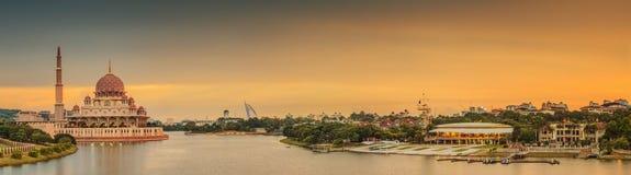Sunset over Putrajaya Mosque and Panorama of Kuala Lumpur Royalty Free Stock Image