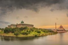 Sunset over Putrajaya Mosque and Panorama of Kuala Lumpur Stock Images