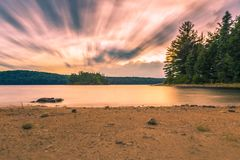 Ragged lake, Algonquin Provincial Park. Sunset over ragged lake in Algonquin Provincial Park stock photos