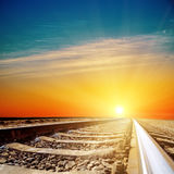 Sunset over railroad closeup Royalty Free Stock Photography