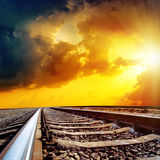 Sunset over railroad Royalty Free Stock Images