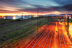 Sunset over railroad Royalty Free Stock Photos