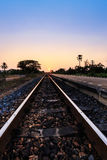 Sunset over railroad Stock Photography