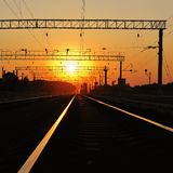 Sunset over railway Royalty Free Stock Images