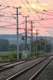Sunset over Railway Tracks Royalty Free Stock Images