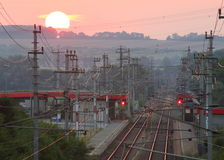 Sunset over Railwaystation Scenery Royalty Free Stock Photography