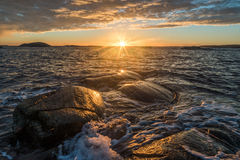 Sunset over Rakke. Picture from Rakke in Larvik, Norway Stock Images