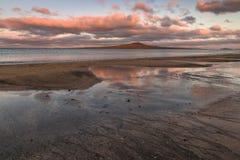 Sunset over Rangitoto Island Stock Image
