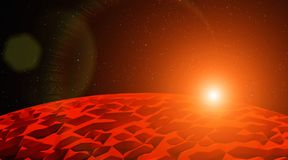 Sunset over the red planet in the deep space low poly 3D illustration stock images