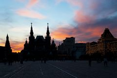 Sunset over Red Square in Moscow. Stock Photos