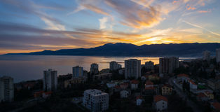 Sunset over Rijeka, Croatia Stock Photo