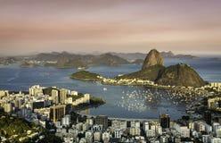 Sunset over Rio de Janeiro Botafogo Bay Royalty Free Stock Images