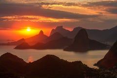 Sunset Over Rio de Janeiro Stock Photography
