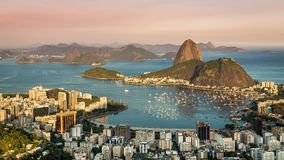 Sunset over Rio de Janeiro panning Time Lapse. Brazil stock video