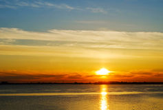 Sunset over the river Stock Photography