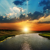 Sunset over river Royalty Free Stock Image