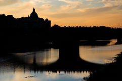 Sunset over the river Arno Royalty Free Stock Image